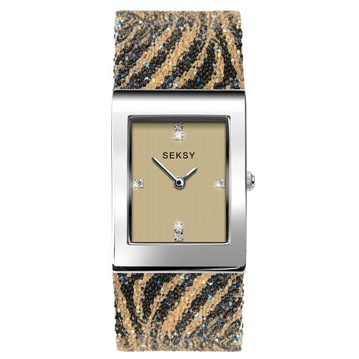 Seksy Rocks® Ladies' Tiger Print Bracelet Watch - Product number 3375501