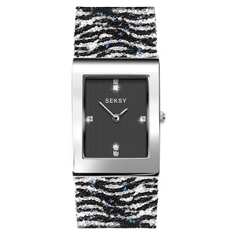 Seksy Rocks® Ladies' Zebra Print Bracelet Watch - Product number 3375528