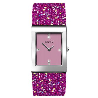 Seksy Rocks® Ladies' Pink Swarovski Crystal Bracelet Watch - Product number 3375544