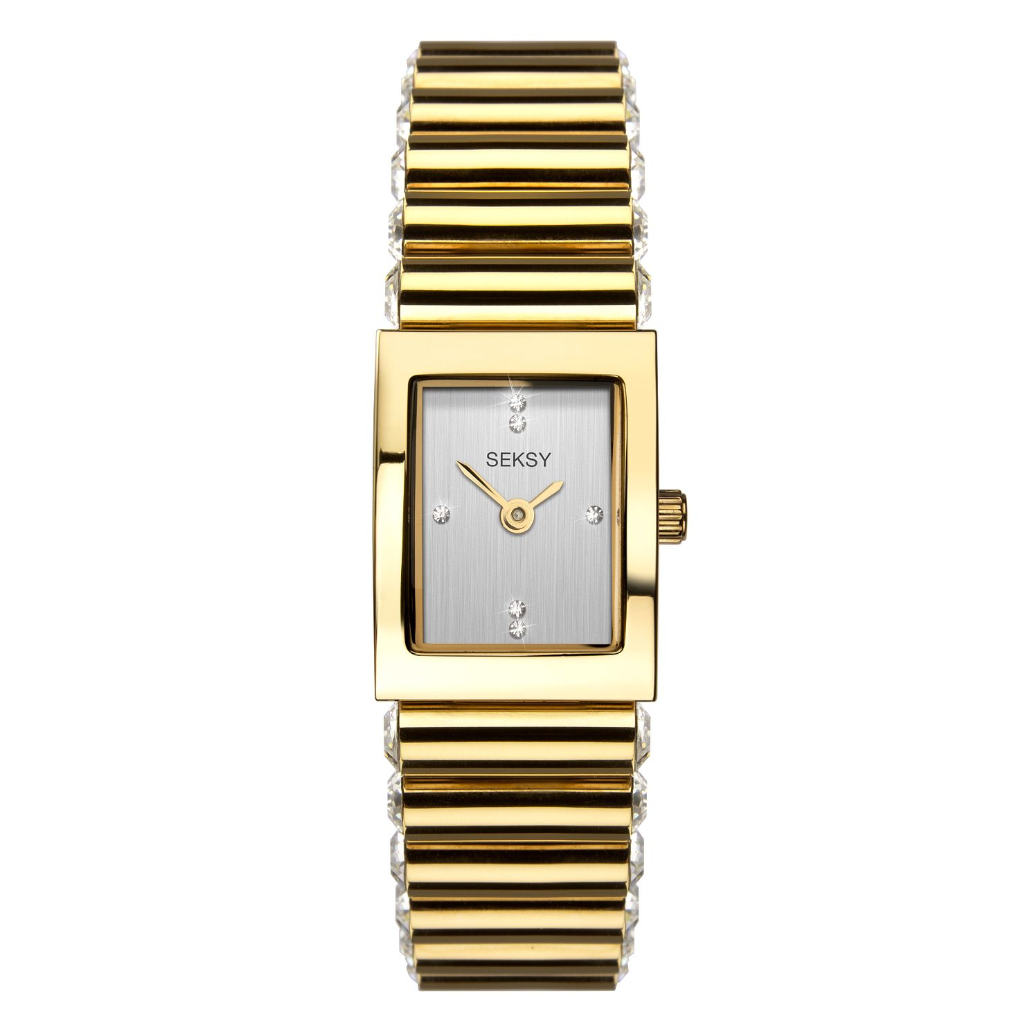Seksy Edge Crystal Ladies' Gold Plated Bracelet Watch - Product number 3375617