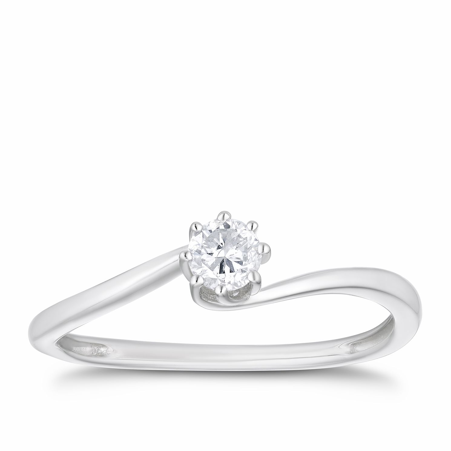 9ct White Gold 1/5ct Diamond 8 Claw Twist Solitaire Ring - Product number 3376648