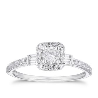 9ct White Gold 1/2ct Diamond Cushion Halo Ring - Product number 3377571