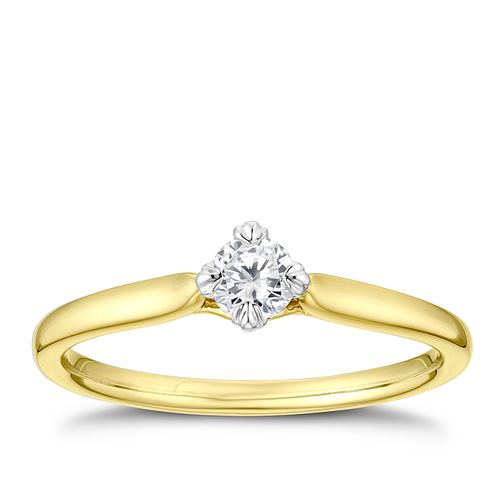 9ct Yellow Gold 1/5ct Diamond Twist Solitaire Ring - Product number 3378039