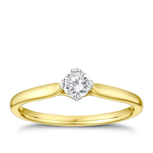 9ct Yellow Gold 1/4ct Diamond Twist Solitaire Ring - Product number 3378527
