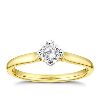 9ct Yellow Gold 1/3ct Diamond Solitaire Ring - Product number 3378969
