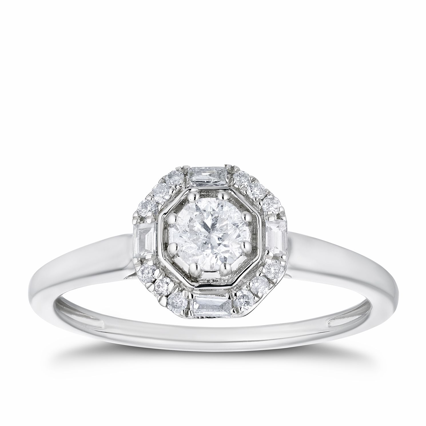 9ct White Gold 1/3ct Diamond Octagon Halo Ring - Product number 3379124