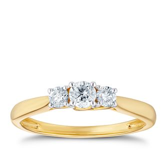 9ct Yellow Gold 1/3 Diamond Three Stone Ring - Product number 3379485