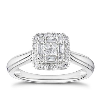 9ct White Gold 1/4ct Diamond Cushion Cluster Ring - Product number 3379620