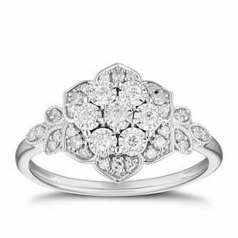9ct White Gold 1/4ct Diamond Flower Cluster Ring - Product number 3381285