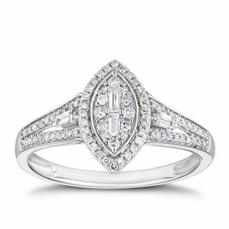 9ct White Gold 1/4ct Diamond Marquise Cluster Ring - Product number 3381765