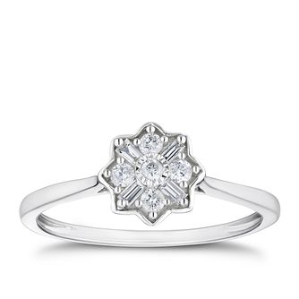 9ct White Gold 0.15ct Diamond Flower Cluster Ring - Product number 3381943