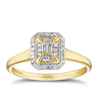 9ct Yellow Gold 0.15ct Diamond Rectangle Cluster Ring - Product number 3382311