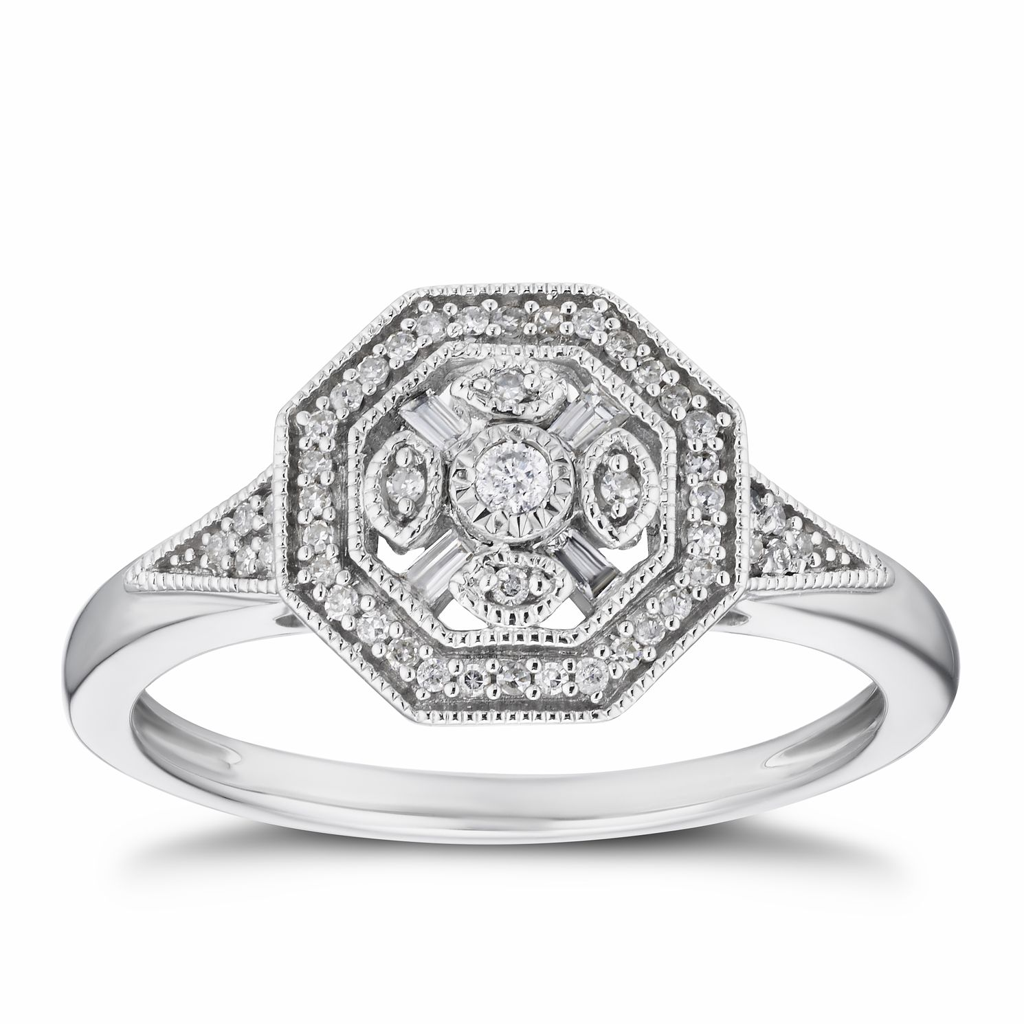 9ct White Gold 0.15ct Diamond Octagon Cluster Ring - Product number 3382443