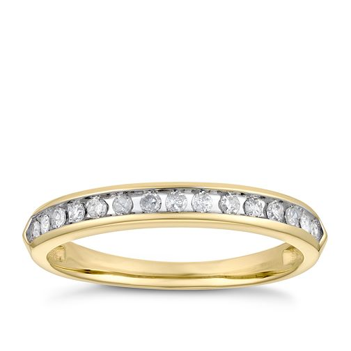 9ct Yellow Gold 0.15ct Diamond Channel Set Eternity Ring - Product number 3382745