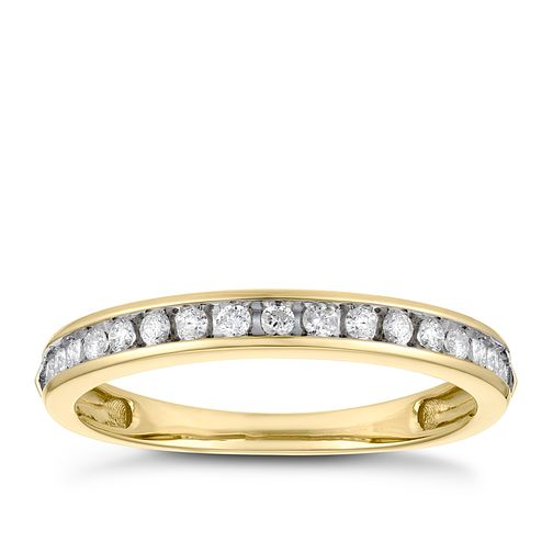9ct Yellow Gold 1/5ct Diamond Channel Set Eternity Ring - Product number 3382893