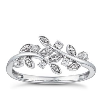 9ct White Gold 1/10ct Diamond Leaf Eternity Ring - Product number 3383563