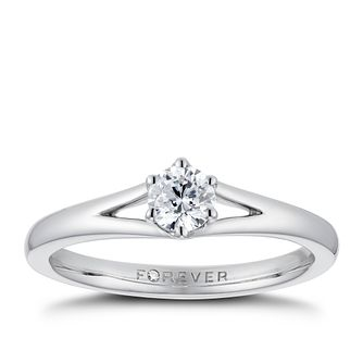 Platinum 1/3ct Forever Diamond Solitaire Ring - Product number 3383709