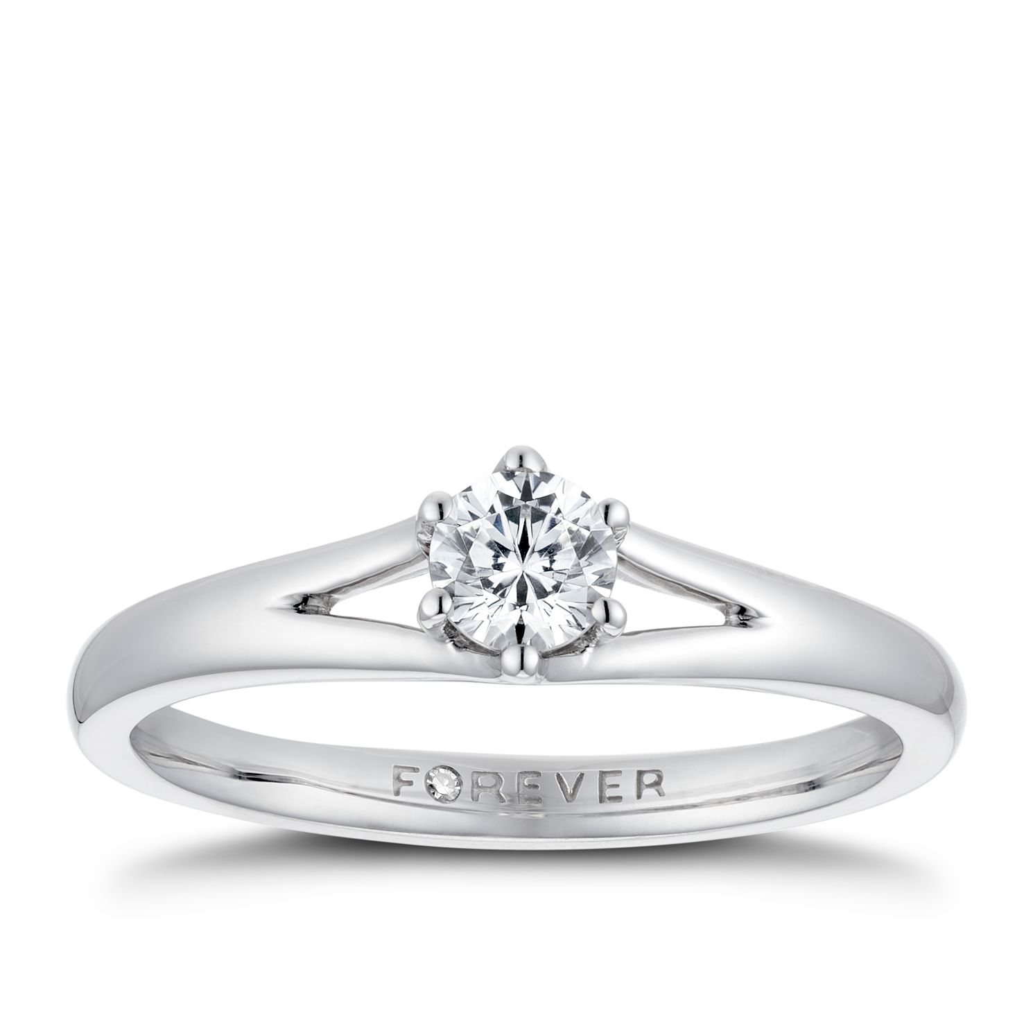Platinum 1/4ct Forever Diamond Solitaire Ring - Product number 3383857