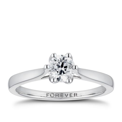 18ct White Gold 1/2ct Forever Diamond Solitaire Ring - Product number 3384179