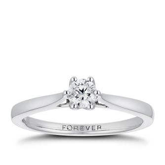 18ct White Gold 1/4ct Forever Diamond Solitaire Ring - Product number 3384381