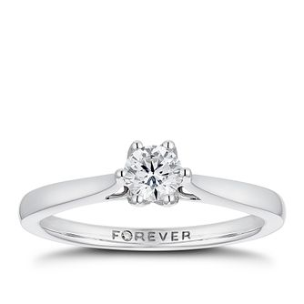 18ct White Gold 1/3ct Forever Diamond Solitaire Ring - Product number 3384551