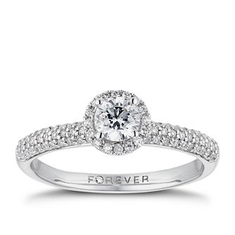 18ct White Gold 1/2ct Forever Diamond Pave Halo Ring - Product number 3384705