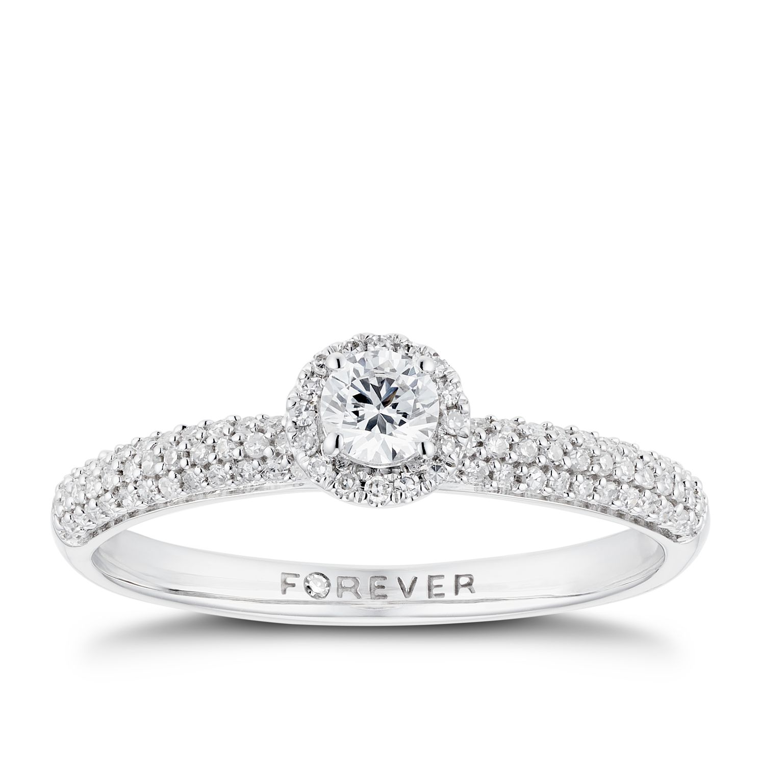 The Forever Diamond 18ct White Gold 0.33ct Total Ring - Product number 3384861