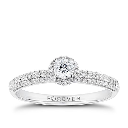 18ct White Gold 1/3ct Forever Diamond Pave Halo Ring - Product number 3384861