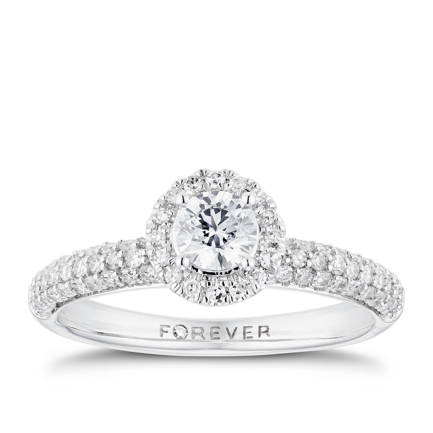 18ct White Gold 3/4ct Forever Diamond Pave Halo Ring - Product number 3385035