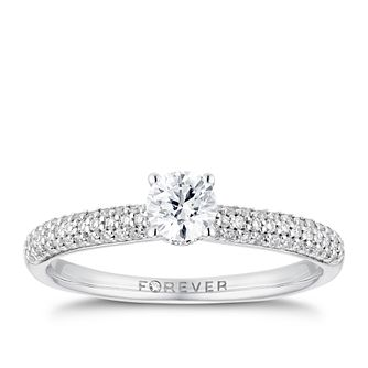 18ct White Gold 1/2ct Forever Diamond Pave Ring - Product number 3385213
