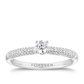 18ct White Gold 1/3ct Forever Diamond Pave Ring - Product number 3385698