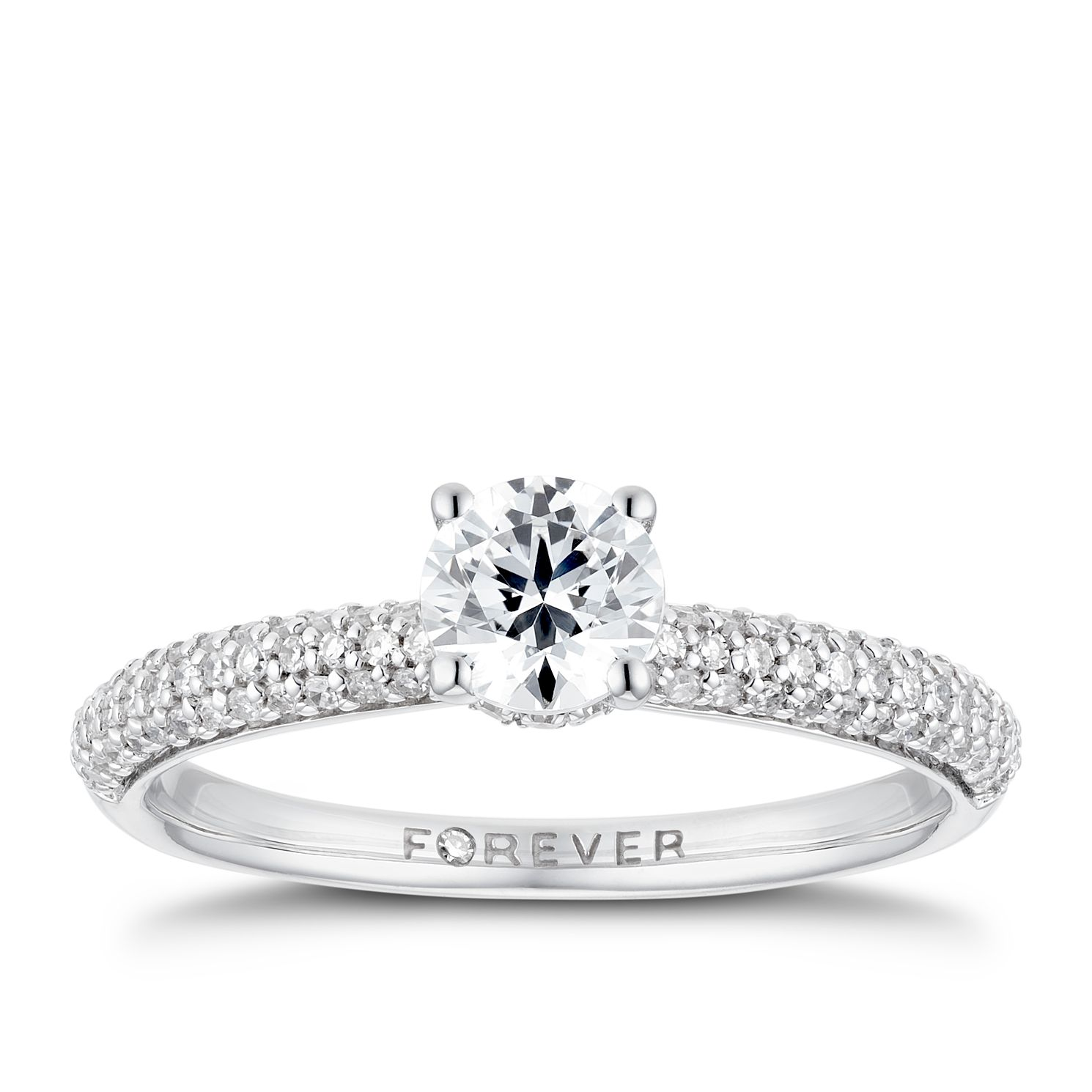 18ct White Gold 3/4ct Forever Diamond Pave Ring - Product number 3386171