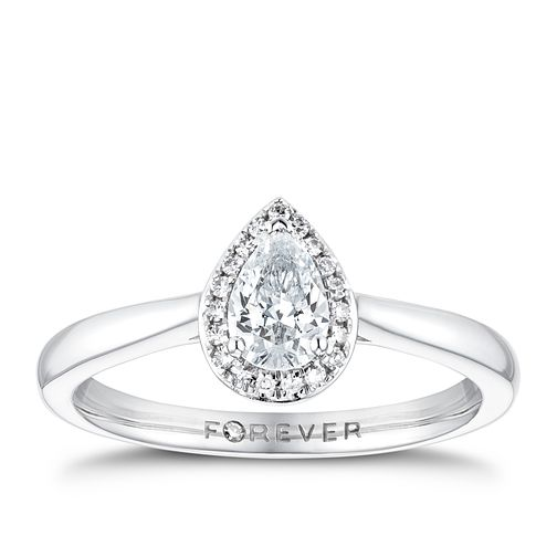 18ct White Gold 0.35ct Pear Forever Diamond Halo Ring - Product number 3387933