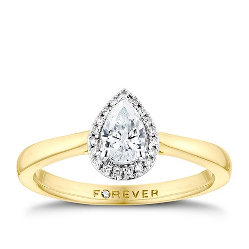 18ct Yellow Gold 0.35ct Pear Forever Diamond Halo Ring - Product number 3388107