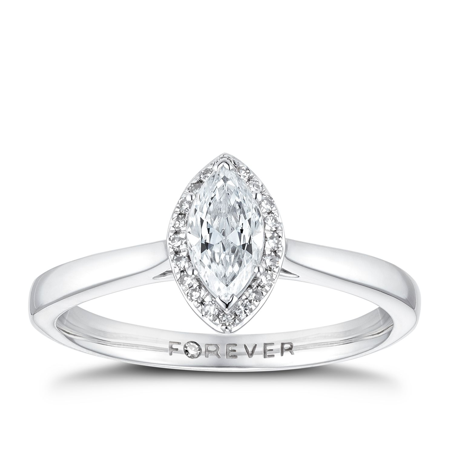 18ct White Gold 0.35ct Marquise Forever Diamond Halo Ring - Product number 3388514