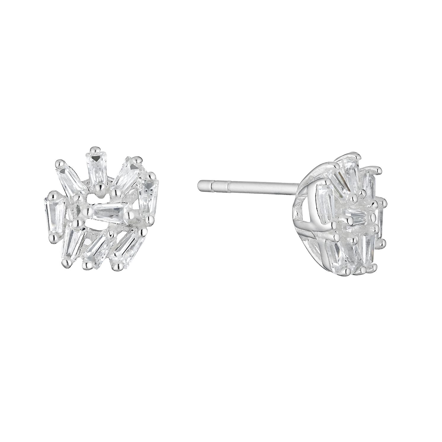 Silver Cubic Zirconia Multi Baguette Stud Earrings - Product number 3391884