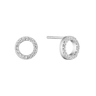 Silver Cubic Zirconia Open Circle Stud Earrings - Product number 3391892