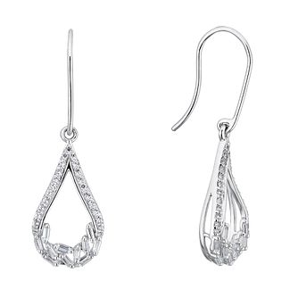 Silver Cubic Zirconia Baguette Drop Earrings - Product number 3391906