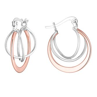 Silver & Rose Gold Plated Orbit Hoop Earrings - Product number 3392015