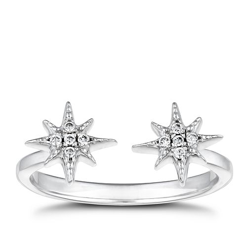 Silver Cubic Zirconia Star Adjustable Ring - Product number 3393860