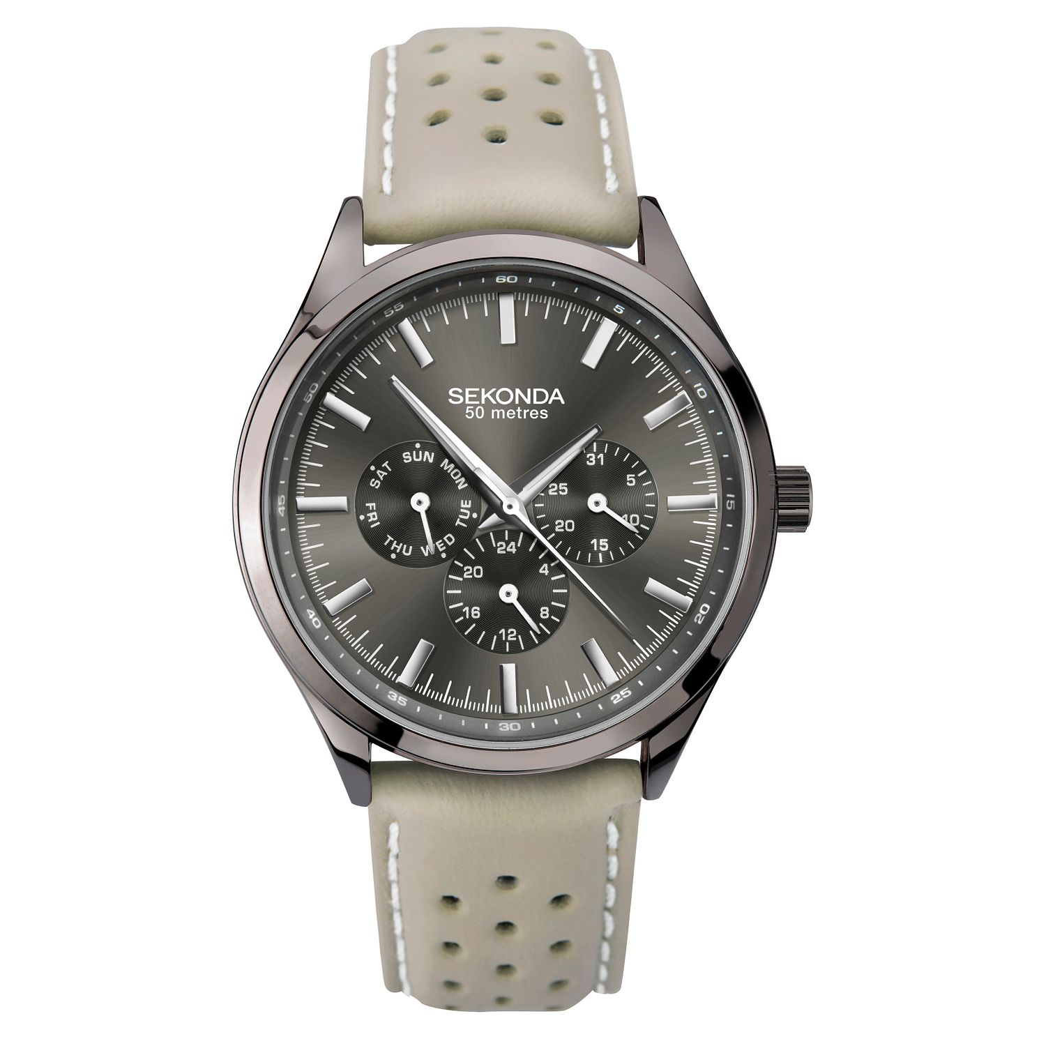 Sekonda Men's Multi-Function Grey Leather Strap Watch - Product number 3394352
