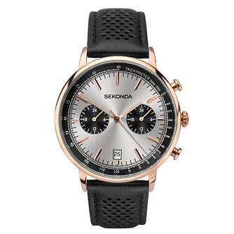 Sekonda Men's Dual-Time Black Leather Strap Watch - Product number 3394360