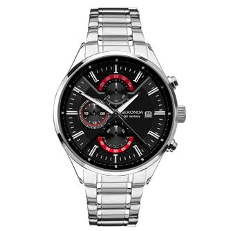 Sekonda Men's Dual-Time Stainless Steel Bracelet Watch - Product number 3394379
