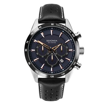 Sekonda Men's Dual-Time Black Leather Strap Watch - Product number 3394387