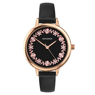 Sekonda Editions Floral Ladies' Black PU Strap Watch - Product number 3394417