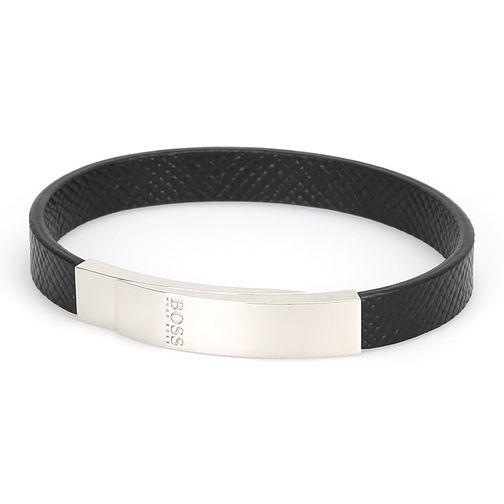 BOSS Barty Men's Black Leather Bracelet - Product number 3394980