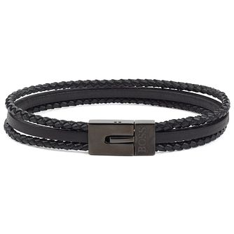 BOSS Baylor Men's Black Leather Bracelet - Product number 3395189