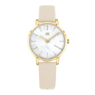 Tommy Hilfiger Lily Ladies' Cream Leather Strap Watch - Product number 3395251