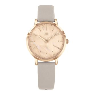 Tommy Hilfiger Lily Ladies' Grey Leather Strap Watch - Product number 3395286