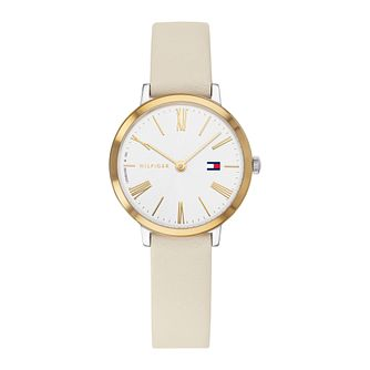 Tommy Hilfiger Project Z Ladies' Cream Leather Strap Watch - Product number 3395324